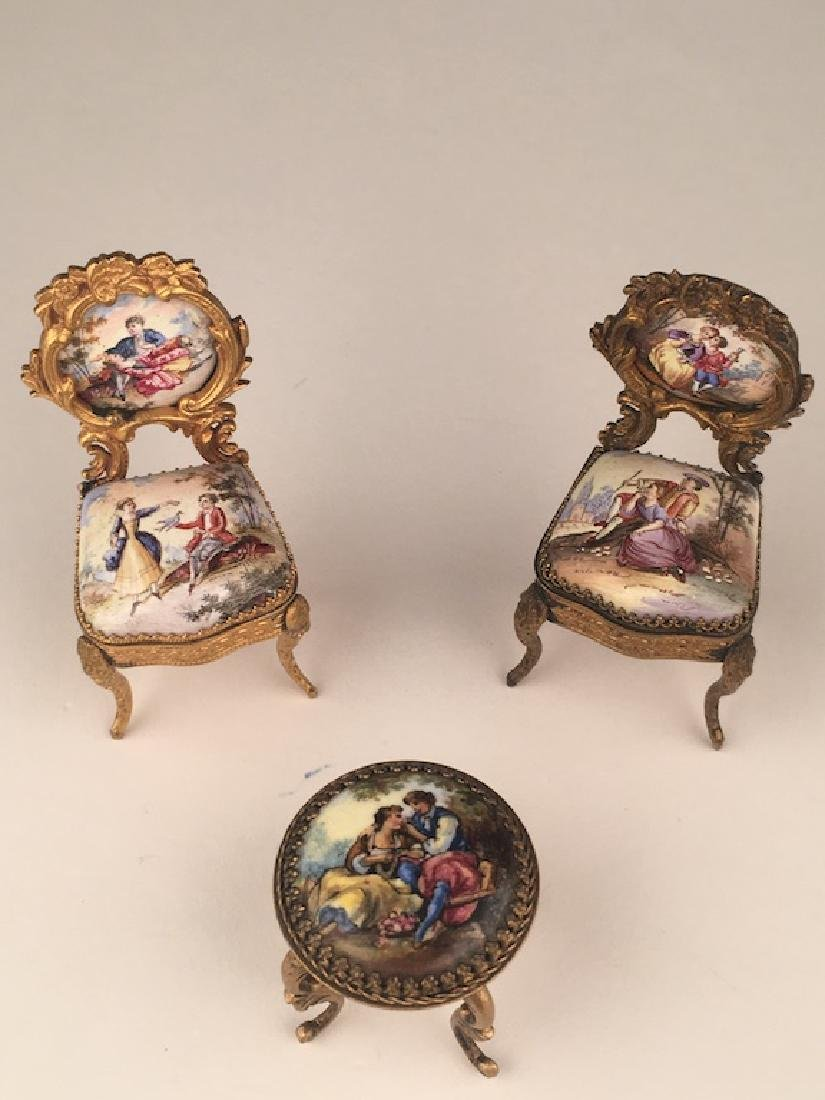 Three pieces of miniature furniture consisting of one - 2