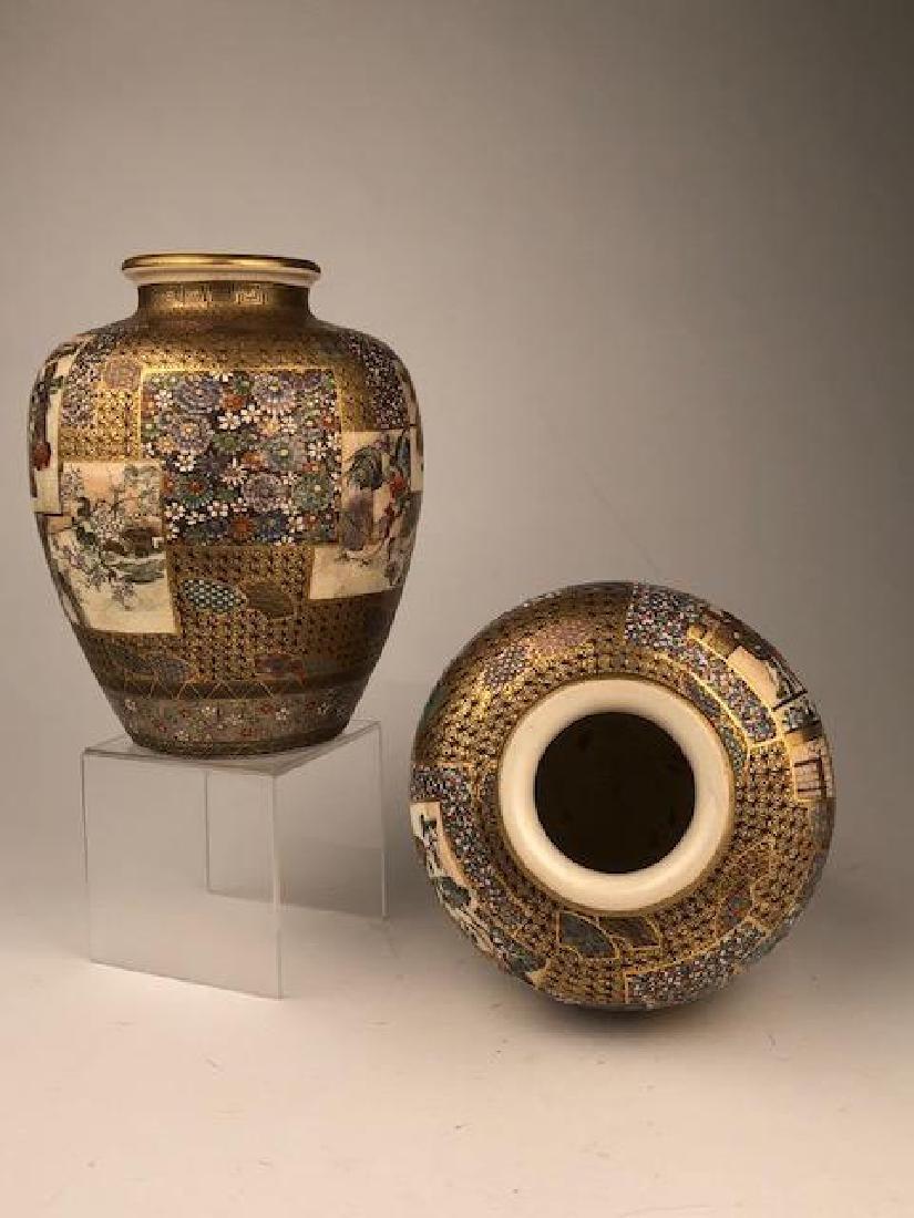 Exceptional pair of Japanese satsuma Meiji period vases - 7