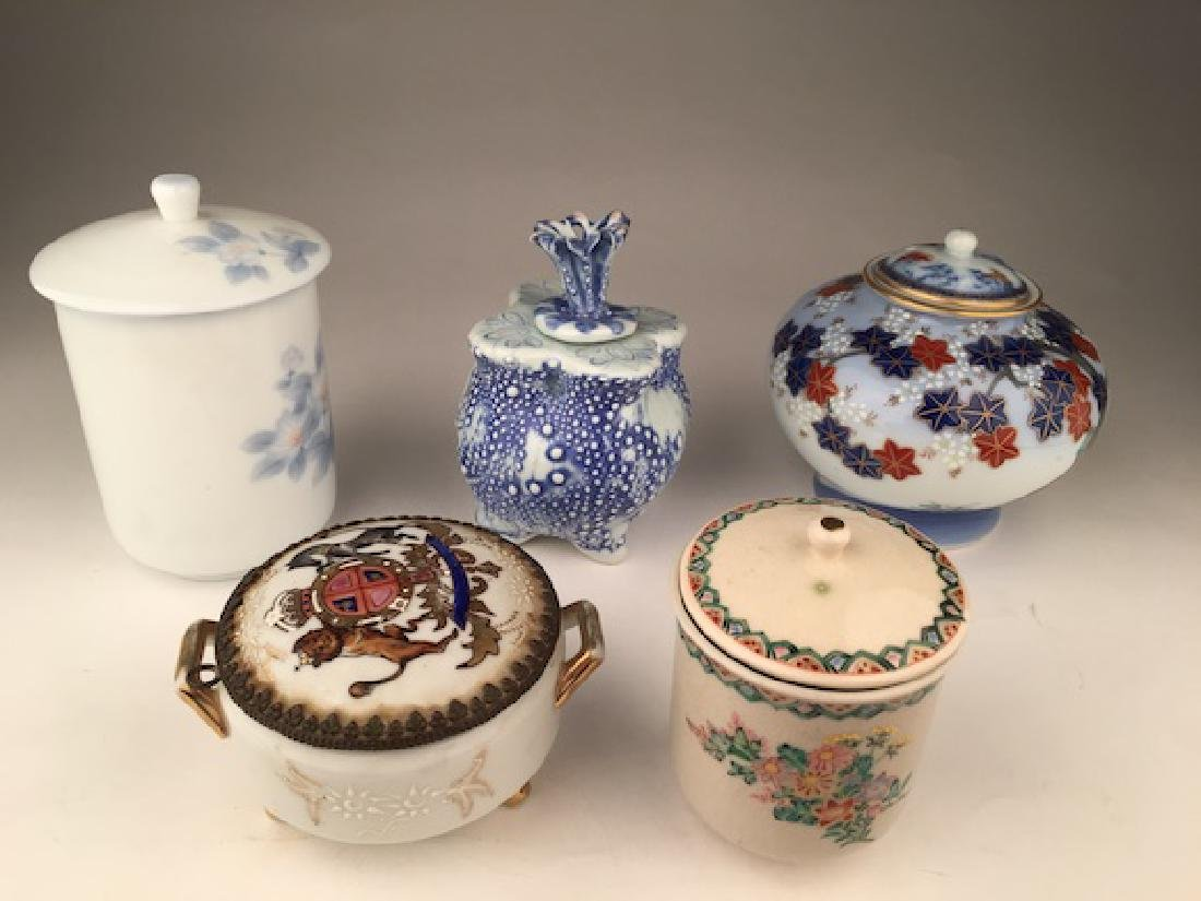 Oriental collection of five jars and covers. Tallest 5