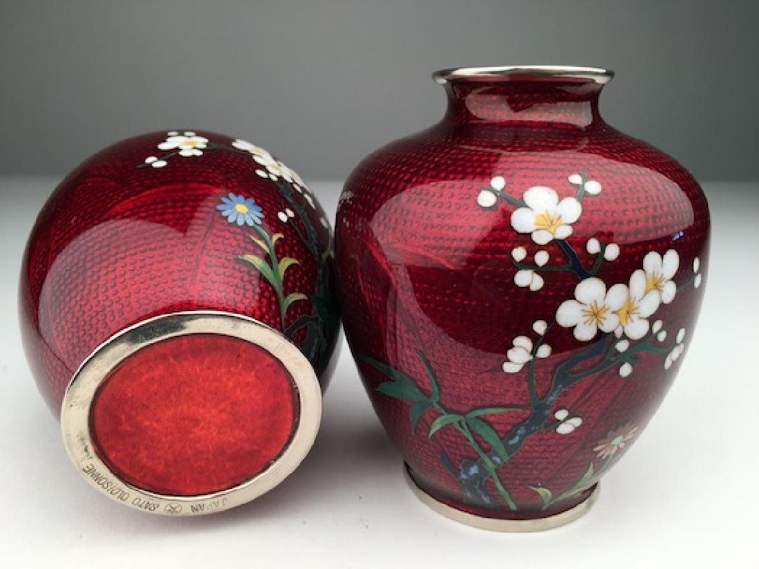 A pair of Japanese cloisonne vases. - 3