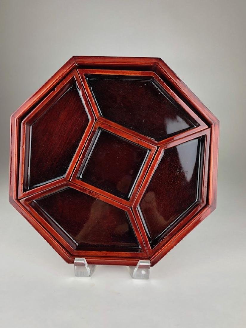 Large wood and Mother of Pearl octagon shape storage - 4