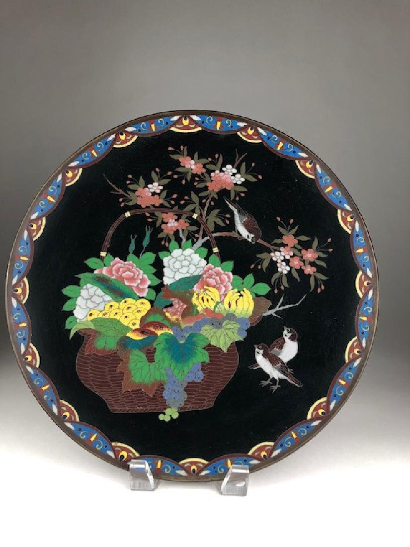 Japanese cloisonne plate decorated with a large basket