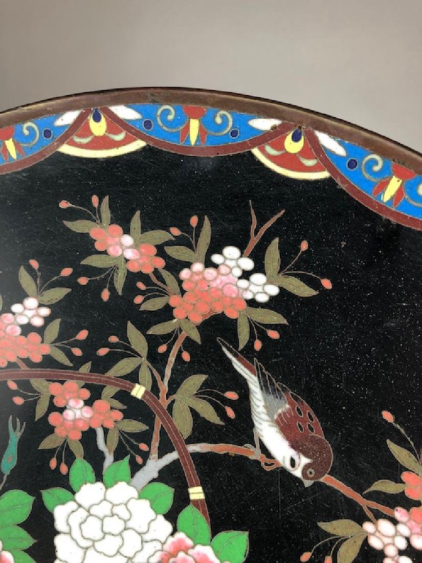 Japanese cloisonne plate decorated with a large basket - 5