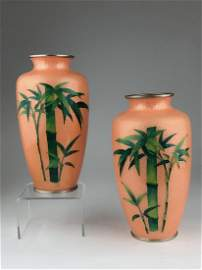 Circa 1920 Japanese pair of cloisonne and foil vases