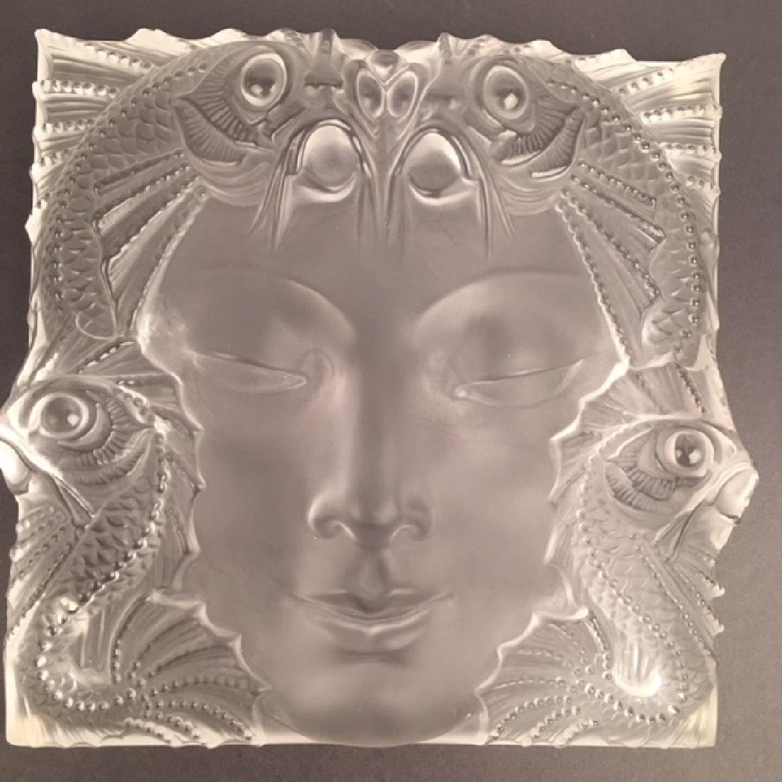 """Maske De Femme"", Lalique frosted crystal panel with"