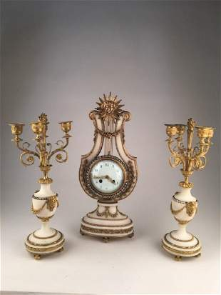 French neoclassical mantelpiece garniture set from the