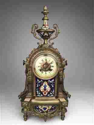 Antique French Japy Freres mantle clock with enamel