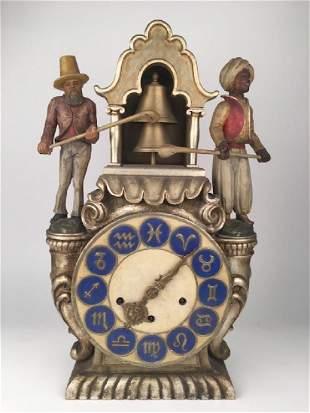 Antique Blackamoor carved wooden clock
