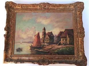 Oil on board of a fishing village Signed bottom right