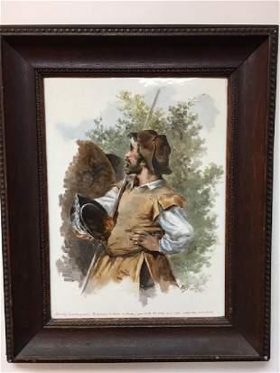 Painting of Don Quixote on a porcelain plaque