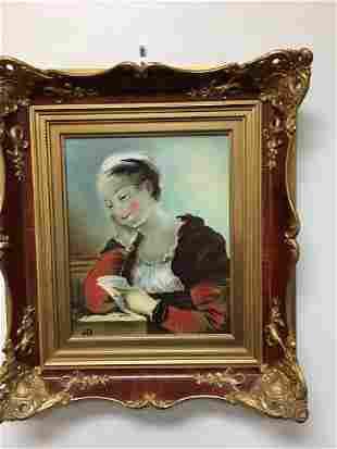 Rosenthal porcelain plaque of a girl reading a letter