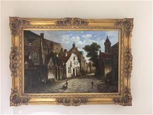 Oil on canvas of an old European street scene