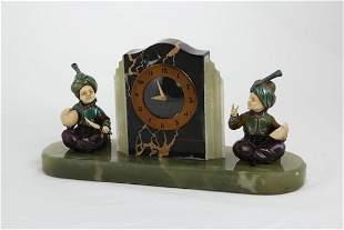 Prof Otto Poertzel clock with two figuresOverall