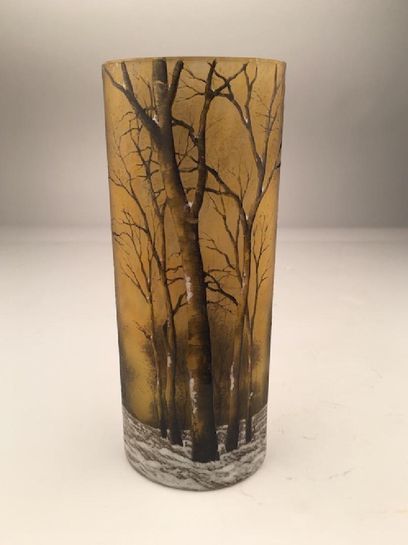 Daum winter scene vase, ovoid in shape.