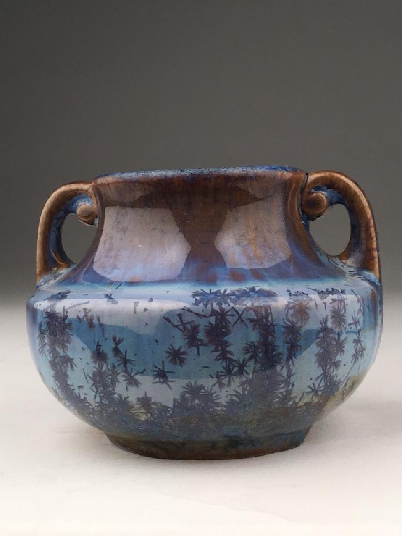 Fulper pottery art deco vase with two handles in a blue