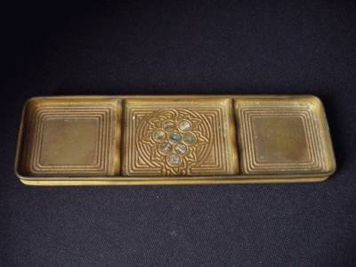 "4: 4: TIFFANY STUDIOS PEN TRAY IN THE ""ABALONE"" PATTERN"