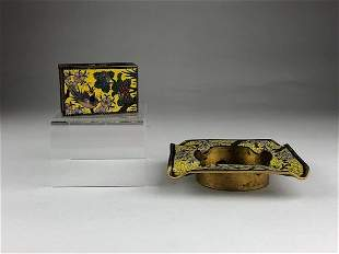 Meiji period Japanese cloisonne ash tray and match box