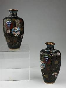 Pair of early 20 th century Japanese cloisonne vases