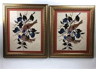 Circa 1980 pair of pietra dura plaques with birds