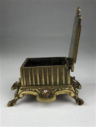 Circa 1890 micromosiac hindged box supported on four