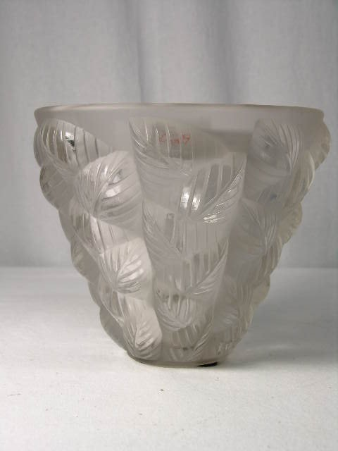 """278: R. LALIQUE """" MOSAIC"""" CLEAR VASE. REFERENCE MARCILH"""