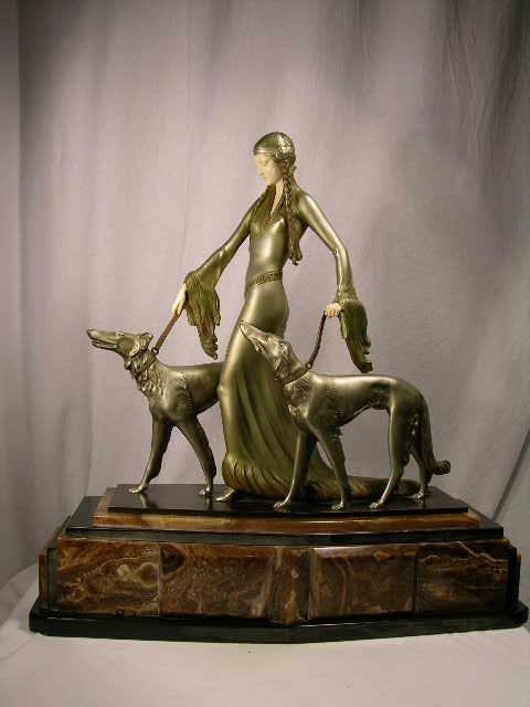 529: BRONZE LADY AND IVORY FIGURE:O. POERTZEL.