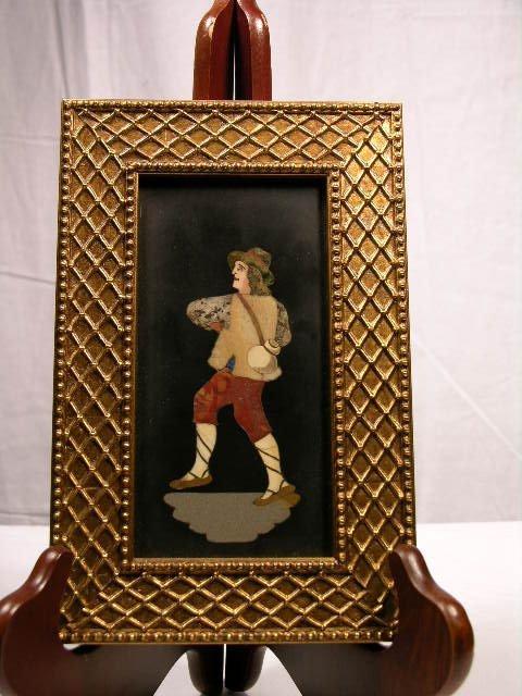 700: PIETRA DURA PLAQUE OF A CAVALIER WALKING WITH A JU