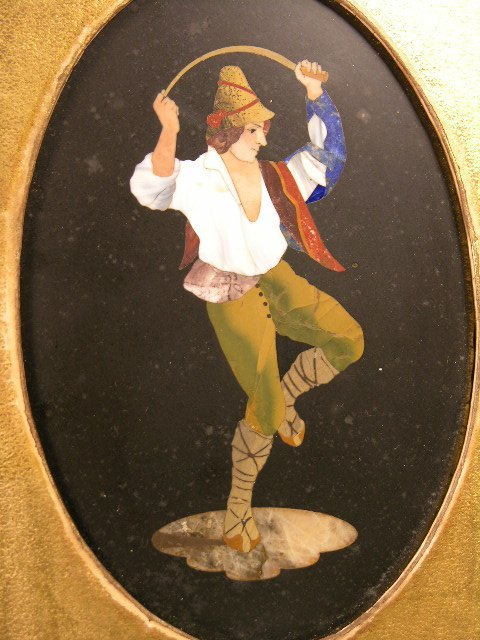 702: ANTIQUE PIETRA DURA PLAQUE OF A MAN HOLDING A DANC