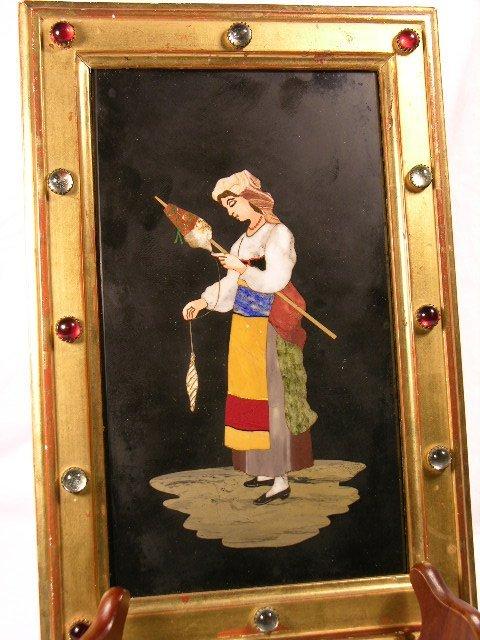 706: FRAME PIERTA DURA. LADY HOLDING A SPOOL OF WOOL. V