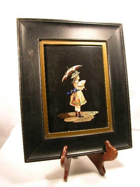 707: PIETRA DURA PLAQUE OF A LADY HOLDING AN UMBRELLA I