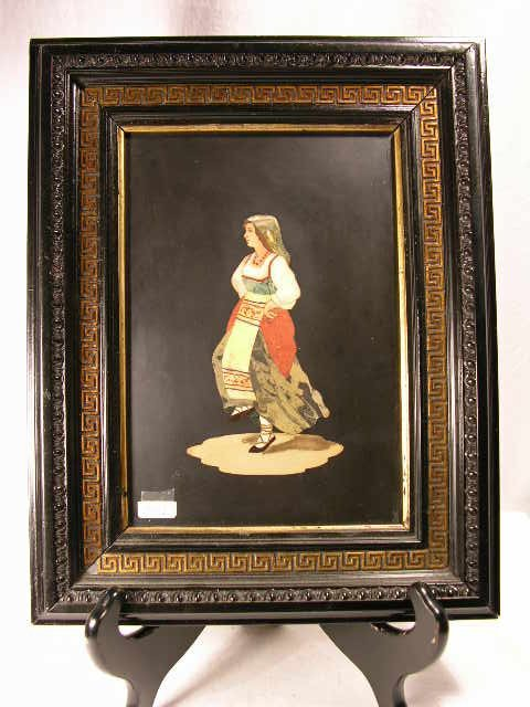 708: PIETRA DURA PLAQUE OF A WOMAN DANCING.