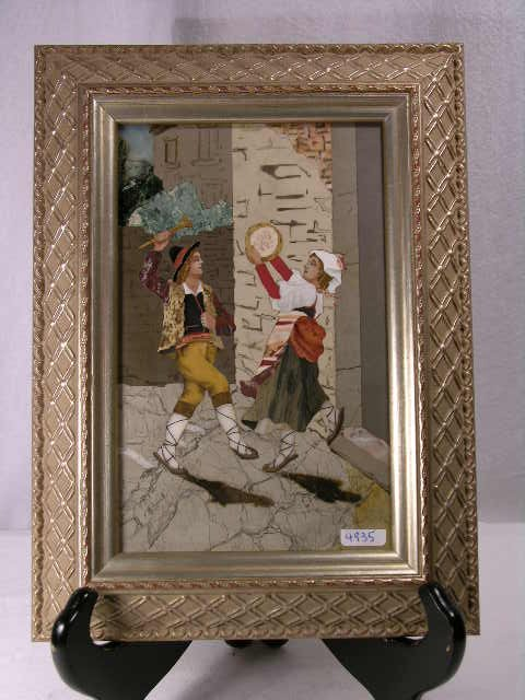 712: PIETRA DURA PLAQUE OF A MAN PLAYING THE FLUTE, AND