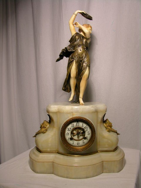 716: BRONZE, MARBLE  AND IVORY MANTEL CLOCK.