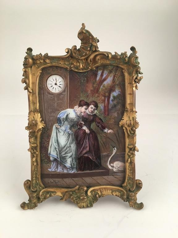 French enamel painting on copper with a small clock in