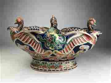 A rare Makuzu Kozan oval shaped bowl in a Satsuma