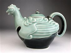 A fine and rare Makuzu Kozan teapot in the form of a Ph