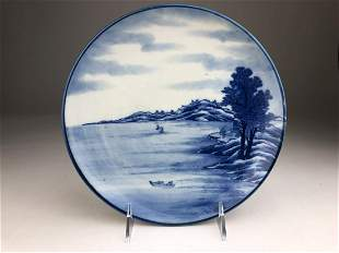 Japanese porcelain Karancha studio blue and white plate