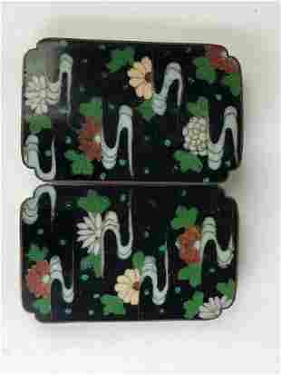 Japanese vintage cloisonne belt with 10 round