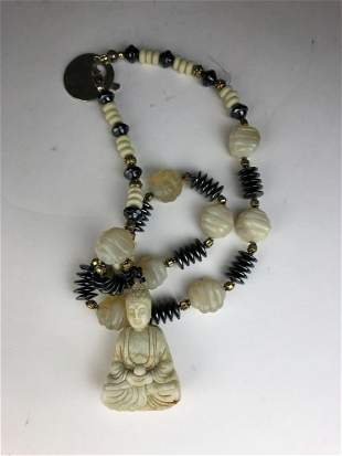 Chinese jade and bead 14 inche necklace