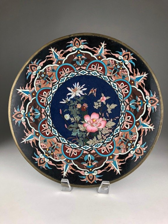 Japanese cloisonne plate decorated with a butterfly