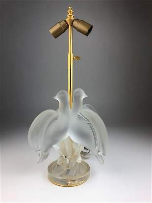 """Lalique """"Ariane"""" frosty and clear glass lamp in the"""