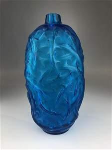 """Lalique """"Ronces"""" vase in electric blue glass."""