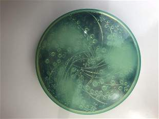 """Lalique """"Muguets"""" box with covered paper bottom."""