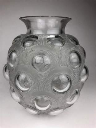 """R. Lalique """"Antilopes"""" vase in clear and frosty glass."""