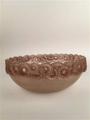 """R. Lalique """"Soucis"""" bowl in a light rose color patina."""