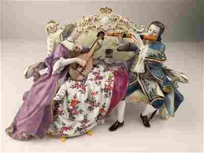 18 th century Meissen figural group of a man and lady