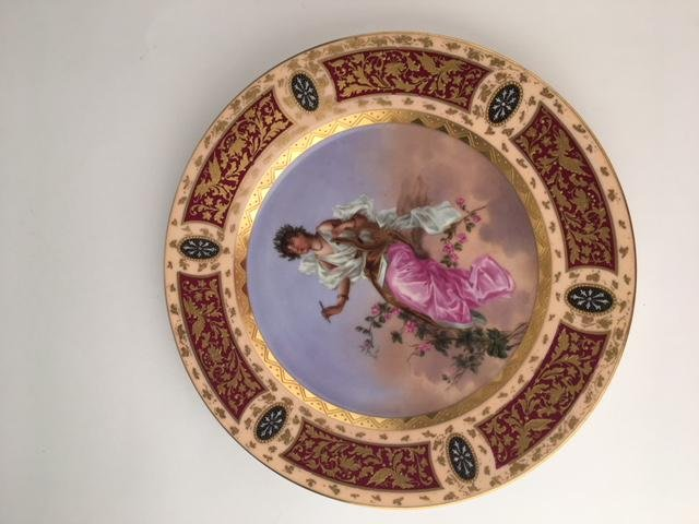 Royal Vienna portrait plate of a Grecian lady playing