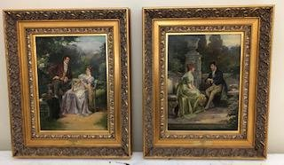 A pair of framed prints of romantic scenes.