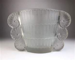 """Lalique """"Jaffa"""" vase in clear and frosty glass."""