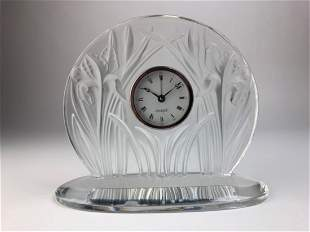 Lalique Iris table clock in clear and frosty glass